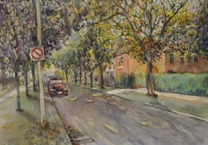 Lo.Lowell.DowntownOldTreelinedStreet.watercolour.14.5x10.$480.Sub#1